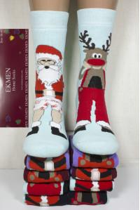 Махровые женские новогодние носки Ekmen высокие Арт.: 2045-1 / ЛП / Упаковка 12 пар /