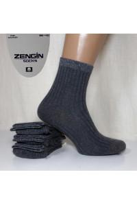 Стрейчевые женские носки в рубчик с люрексовой резинкой ZENGIN Socks высокие Арт.: 3260-60-1 / Упаковка 12 пар /