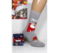 Махровые женские новогодние носки KARDESLER высокие Арт.: 1619-1 / Hoo + Олени + Мишка /
