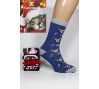 Махровые женские новогодние носки KARDESLER высокие Арт.: 1619-2 / Собака + Олени + Merry Crimbo + Дед мороз /