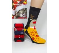 Махровые женские новогодние носки KARDESLER высокие Арт.: 1619-3 / Олень в свитере + Дед мороз /