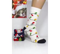 Махровые женские новогодние носки KARDESLER высокие Арт.: 1619-4 / Герлянда + Гольф + Труба + Ёлка /