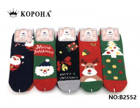 Женские махровые носки травка КОРОНА Арт.: B2552 / Новогодние / Упаковка 10 пар /