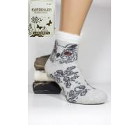 Шерстяные махровые женские носки KARDESLER высокие Арт.: 6809-1 / Олень + Ведмедь + Сова /