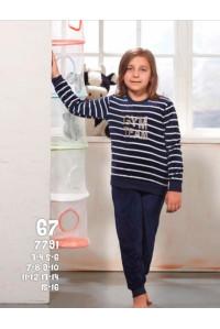 Детская пижама для сна из штанов и футболки с длинным рукавом SEVIM Арт: 7791