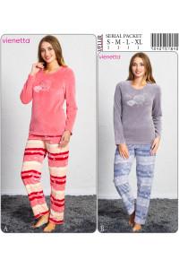 Комплект велюровый из штанов и футболки с длинным рукавом Vienetta Secret Арт: 704075-1846