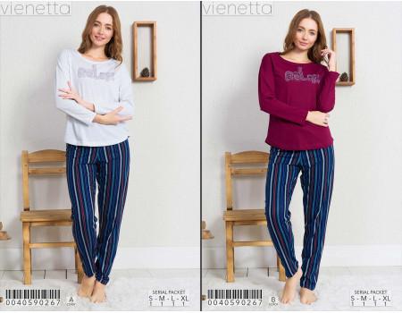 Комплект из штанов и футболки с длинным рукавом Vienetta Secret Арт: 004059-0267