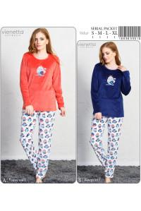 Комплект велюровый из штанов и футболки с длинным рукавом Vienetta Secret Арт: 160363-3515
