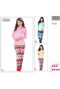 Комплект велюровый из штанов и футболки с длинным рукавом Vienetta Secret Арт: 504016-5124
