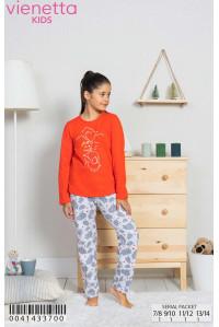 Детская пижама для сна из штанов и футболки с длинным рукавом Vienetta Kids Арт: 004143-3700